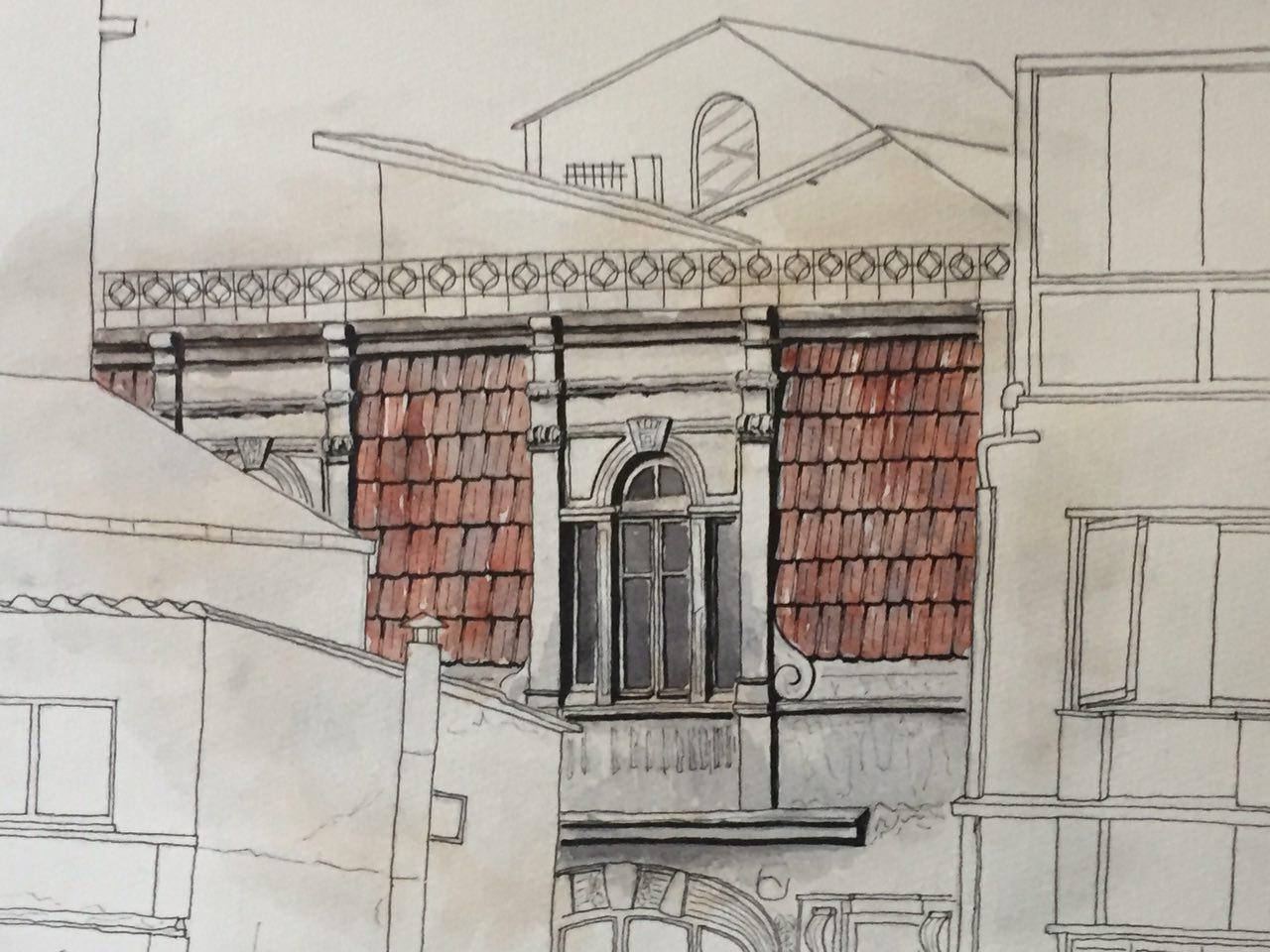 Dernek ofisinin bulunduğu hanın dışarıdan görüntüsüne dair bir el çizimi.