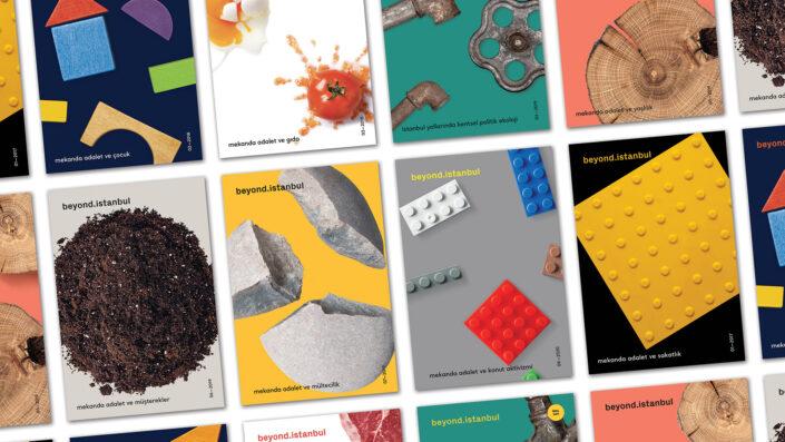 Derginin çeşitli sayılarının yan yana dizilmiş görseli.