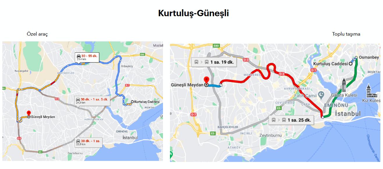 google maps haritasında kurtuluş'tan güneşli'ye özel araç ve toplu taşıma ile olacak şekilde iki ayrı ulaşım rotasını gösteren görsel.